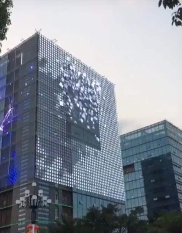 3D эффект прозрачного медиа фасада