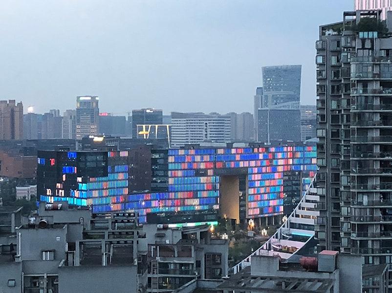 led video strip media facade